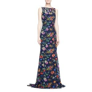 Badgley Mischka Floral Lace Gown Navy/Multi